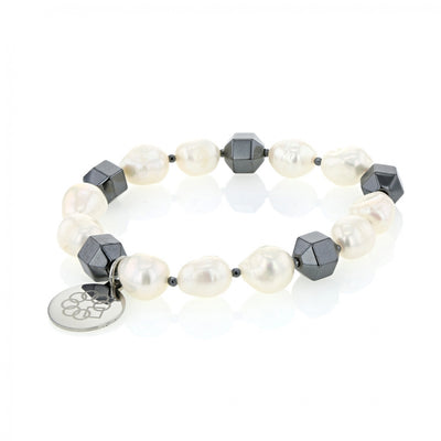 EMBRACE THE DIFFERENCE® stretch bracelet - FRESH WATER PEARL AND GEOMETRIC HEMATITE