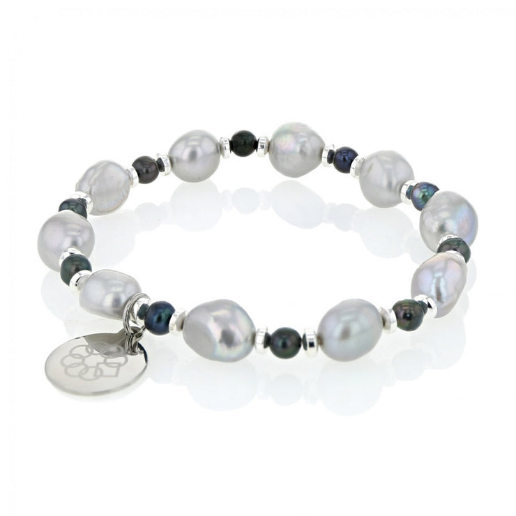 EMBRACE THE DIFFERENCE®  STRETCH BRACELET - FRESH WATER GREY PEARL, HEMATITE AND SILVER BEADED