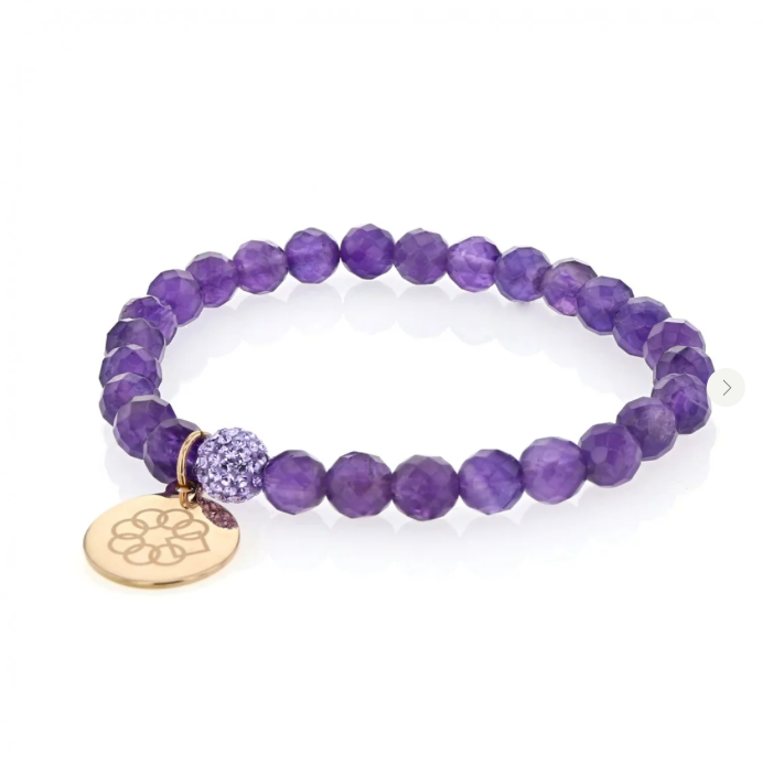 EMBRACE THE DIFFERENCE® GENUINE PURPLE AMETHYST BEADED STRETCH BRACELET