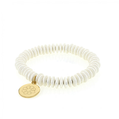 EMBRACE THE DIFFERENCE® bright SILVER BEADED STRETCH BRACELET - GOLD CHARM