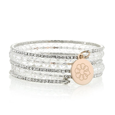Embrace the Difference® Sparkling Wrap Bracelet - clear beads with rose gold