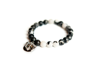 Buffalo Embrace the Difference® Black Zebra Jasper Gemstone Stretch Bracelet