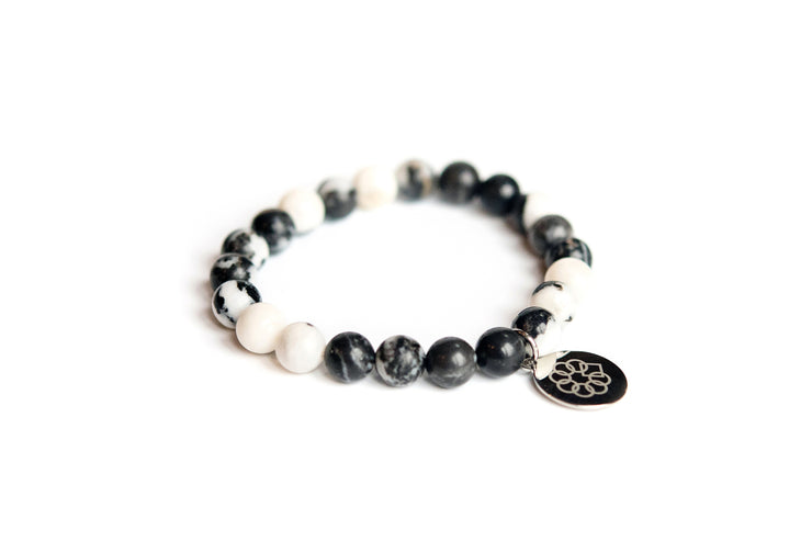 Embrace the Difference® Black Zebra Jasper Gemstone Stretch Bracelet