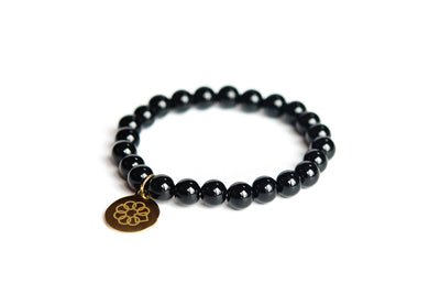 Embrace the Difference® Black Onyx Gemstone Stretch Bracelet