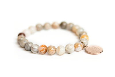 Embrace the Difference® Bamboo Agate Gemstone Stretch Bracelet