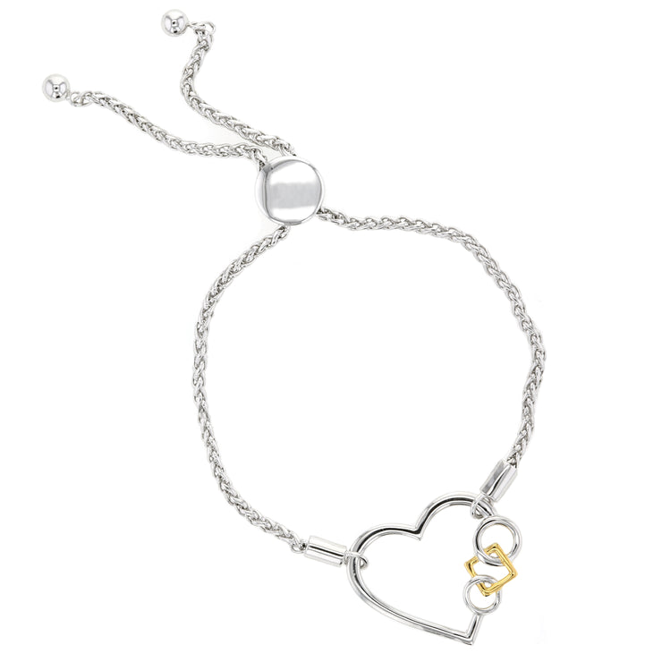 Embrace The Difference® Sterling Silver Heart Bolo Bracelet , 24k Gold plated square