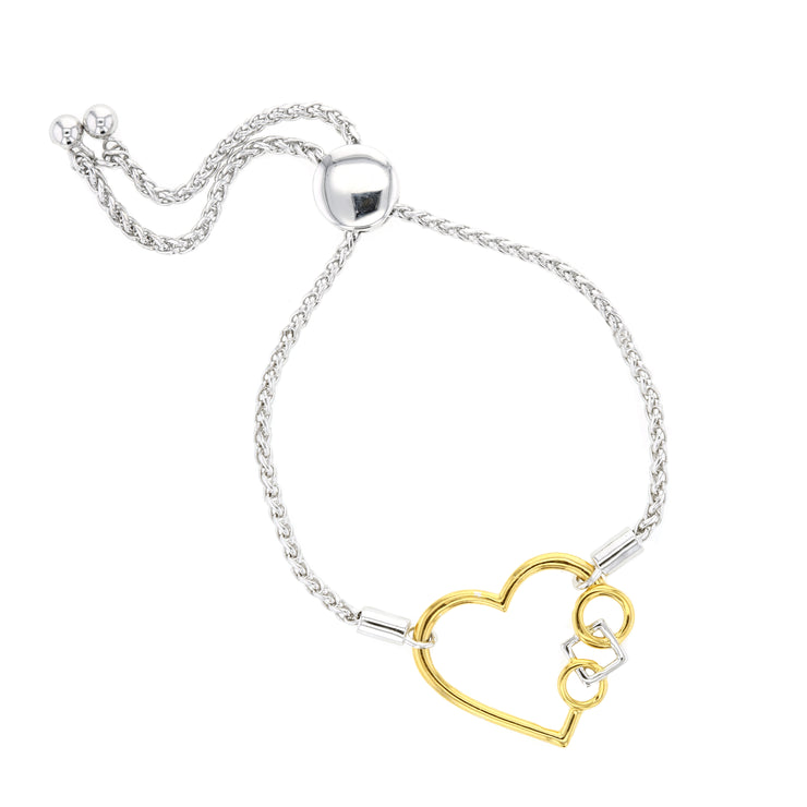 Embrace The Difference® Sterling Silver,  23k Gold Plated Heart Bolo Bracelet