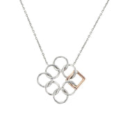 Embrace the Difference® Angled Pendant - Sterling Silver and 14kt Rose Gold