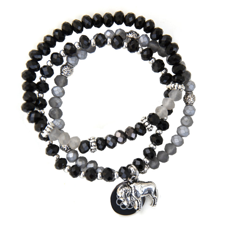 BUFFALO EMBRACE THE DIFFERENCE® BRACELET SET - SILVER AND BLACK, SILVER AND GREY AND BLACK GLASS BEADED STRETCH BRACELETS