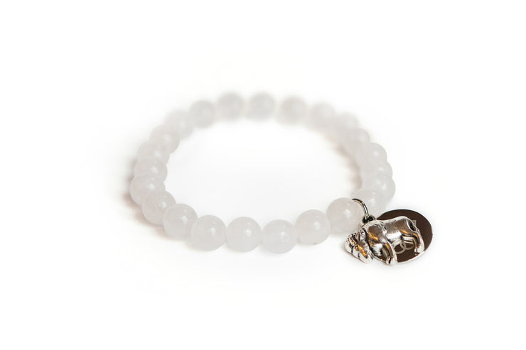 Buffalo Embrace the Difference® White Jade Gemstone Stretch Bracelet