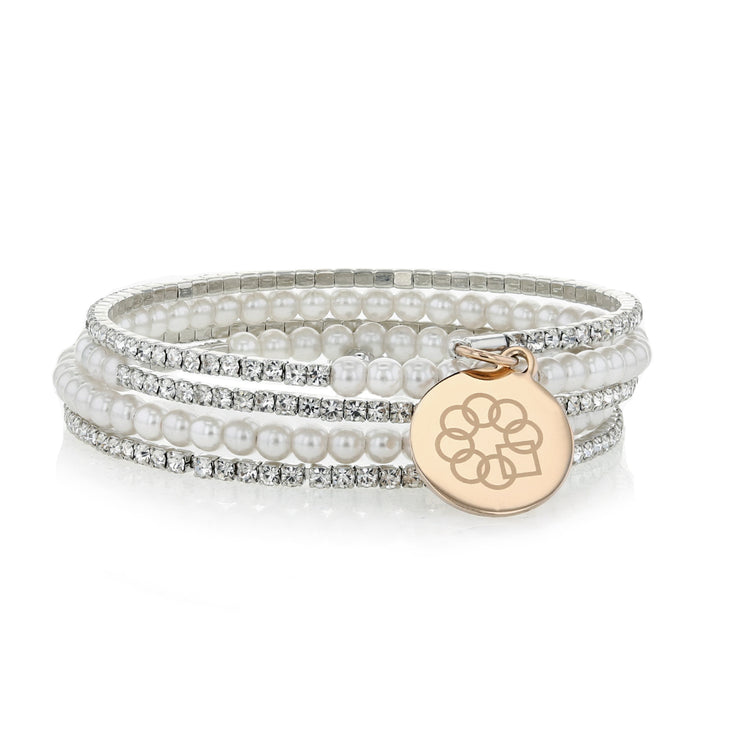 Embrace the Difference® Sparkling Wrap Bracelet - silver and rose gold