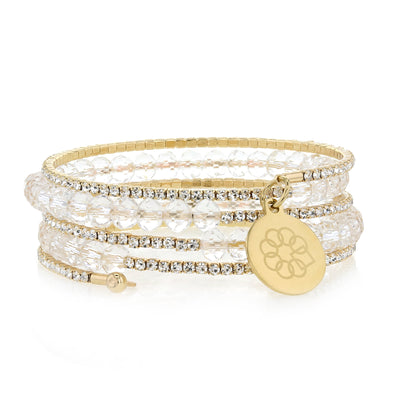 Embrace the Difference® Sparkling Wrap Bracelet - Clear Beads with Gold