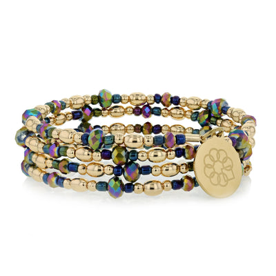 Embrace the Difference® Wrap Bracelet - Iridescent and Gold Beads