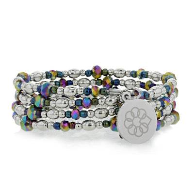 Embrace the Difference® Wrap Bracelet - Iridescent & Silver beads