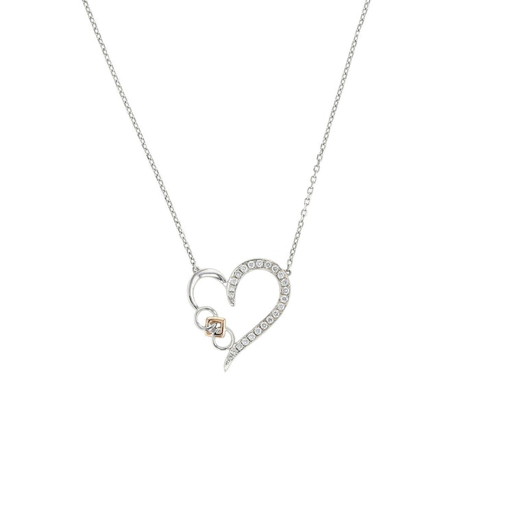 Embrace the Difference® Sterling Silver Diamond Heart Pendant with 14kt rose gold