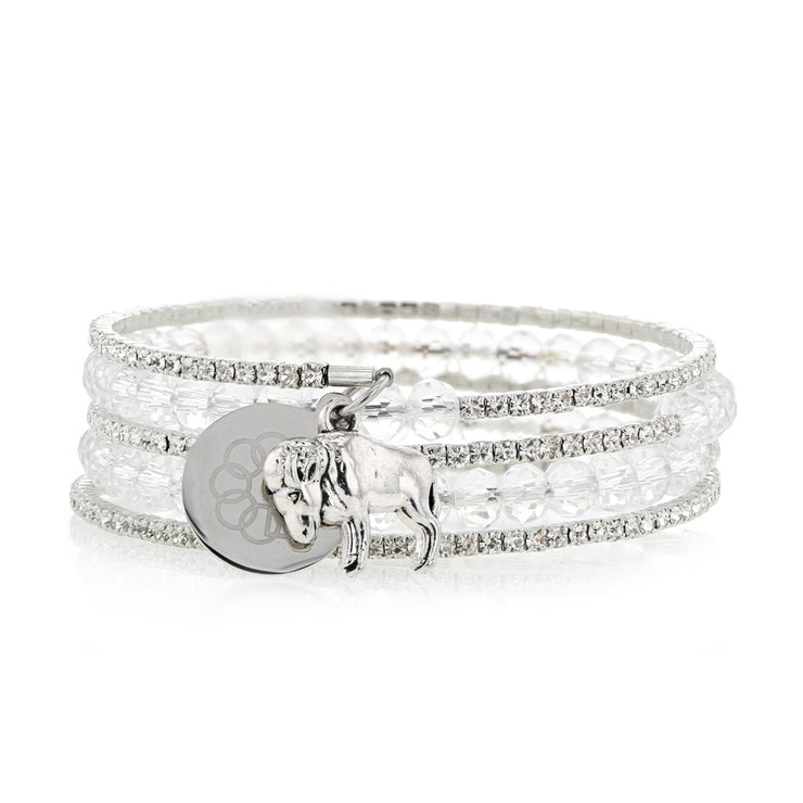 BUFFALO EMBRACE THE DIFFERENCE® SPARKLING WRAP BRACELET-CLEAR BEADS