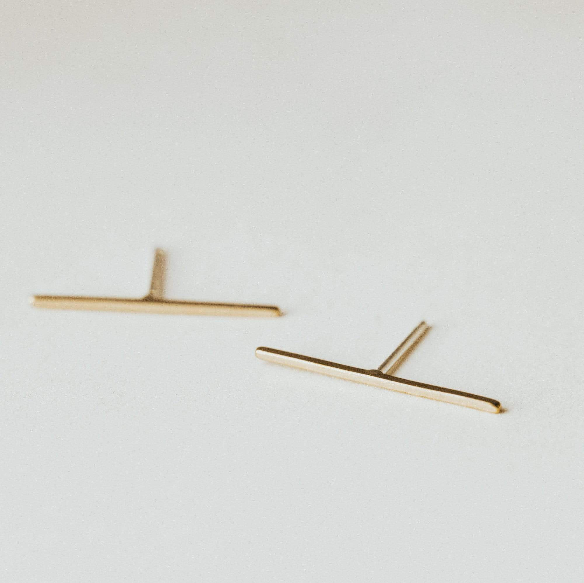 OXBStudio Earrings Gold Filled Bar Studs, XL