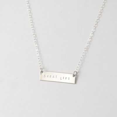 "OXBStudio Necklace Sterling Silver / Cable Chain / 16"" Sweat Life Bar"
