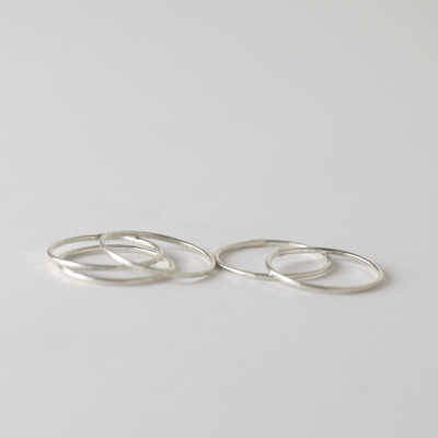 OXBStudio Rings 5 / Sterling Silver Stack Ring, Bundle of 5