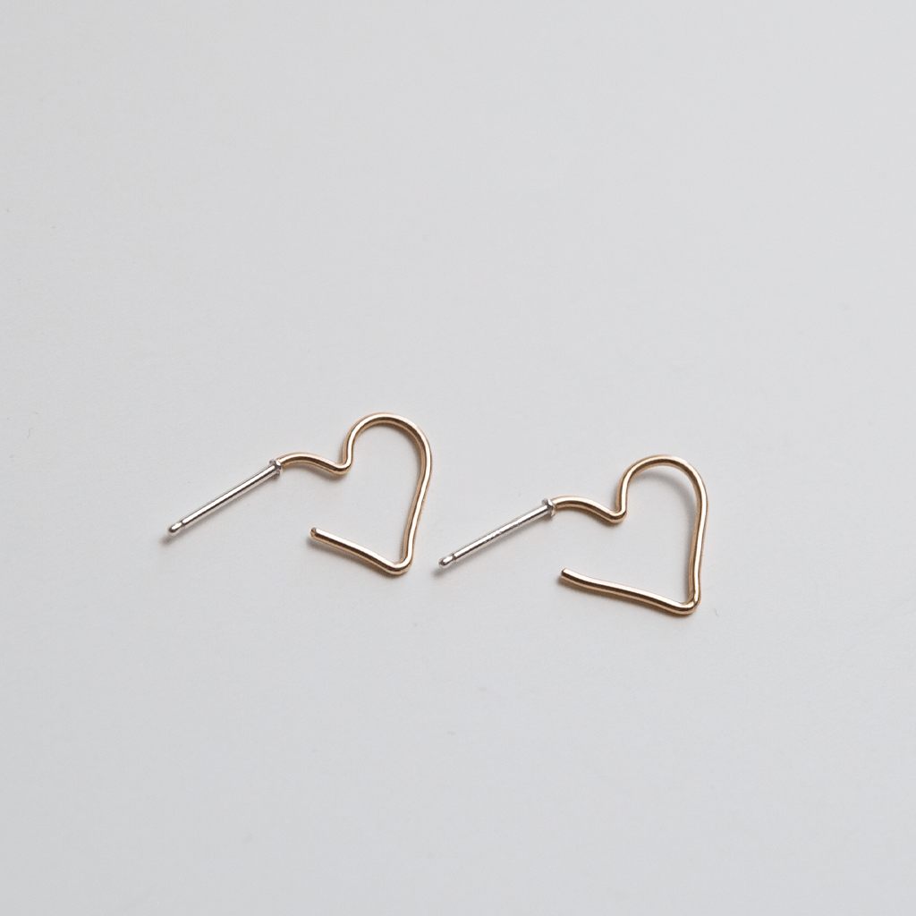 OXB Studio Earrings Gold Filled Open Heart Studs