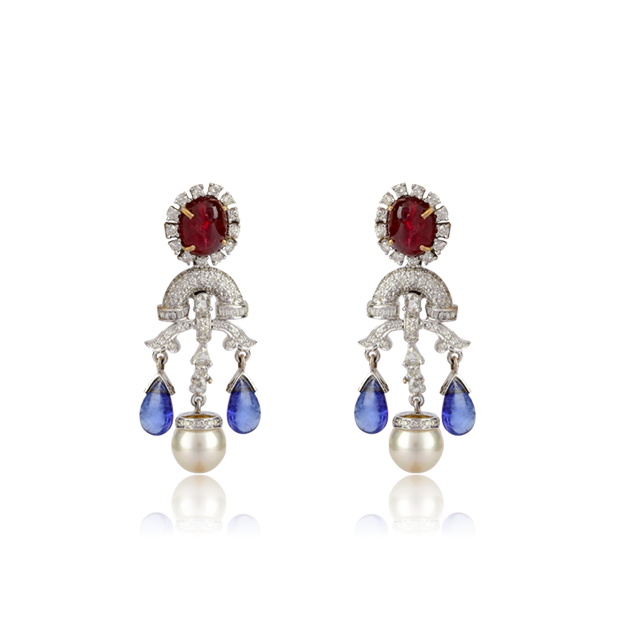 Tanzanite Ruby Earring