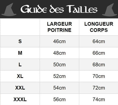 guide taille t-shirt gandalf shop