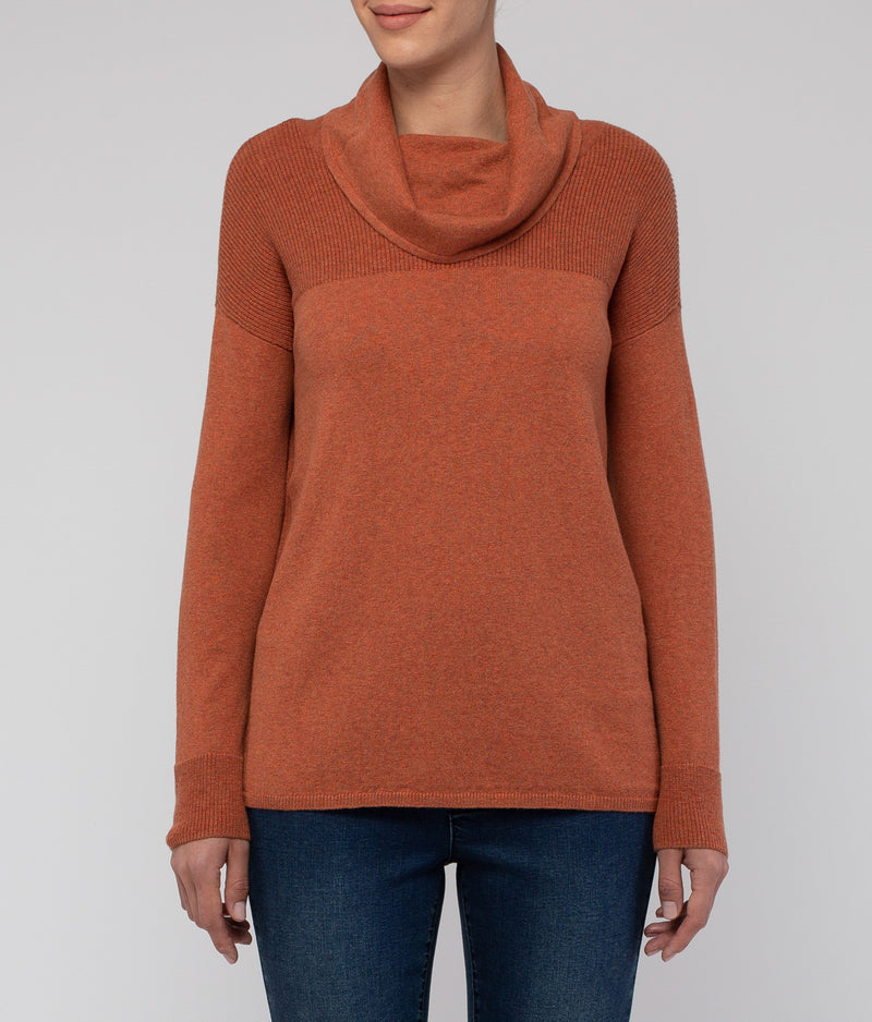 Jump L/Slv Detail Cowl Pullover