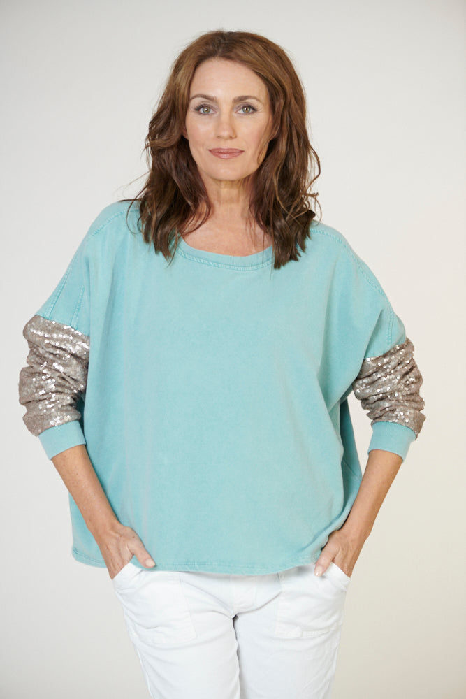 Italian Star Apres Sequin Sleeve Sweat