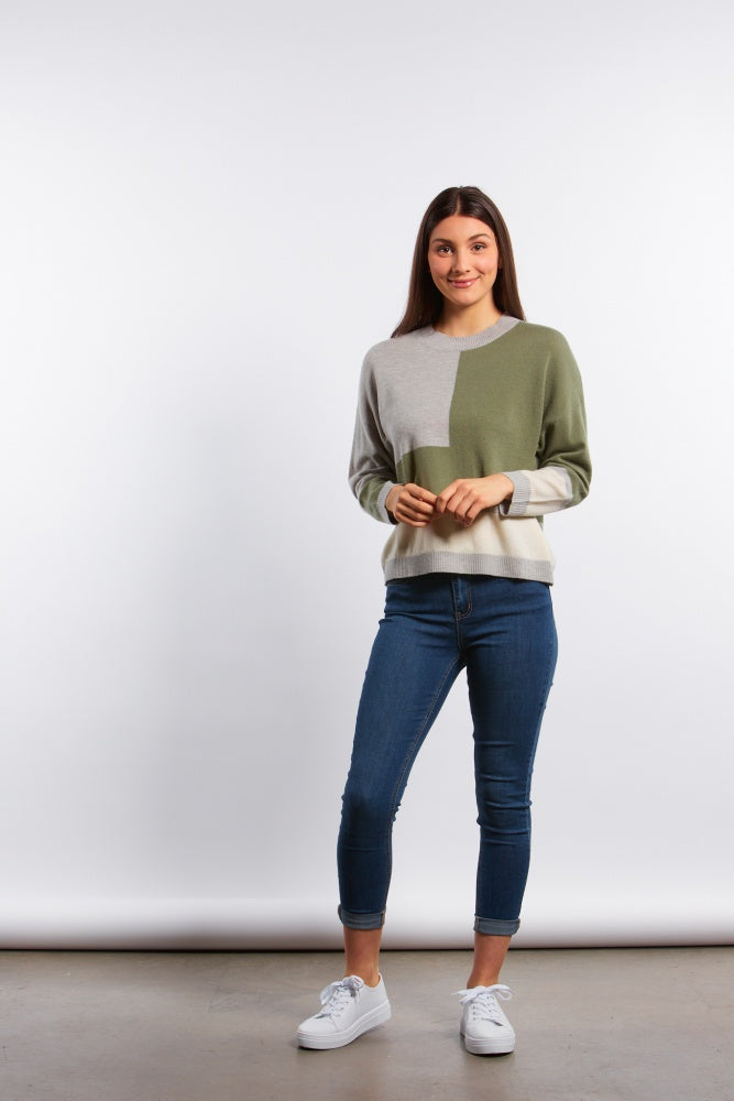 Fields Asymetric Colour Block Pullover