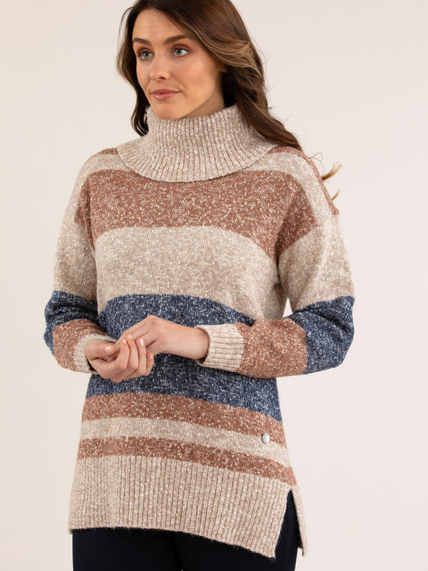YT20W7815 Yarra Trail Marled Stripe Knit Jumper