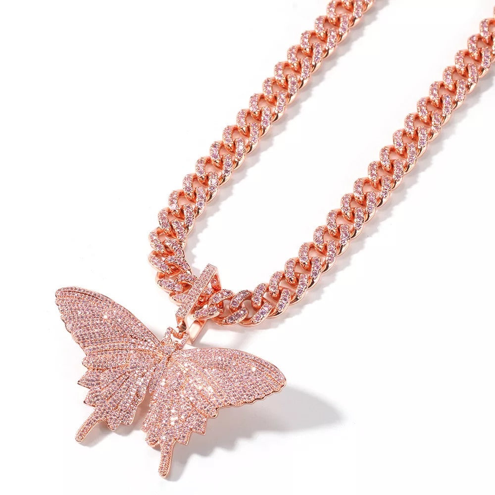 Rose Gold Cuban Link Butterfly Necklace