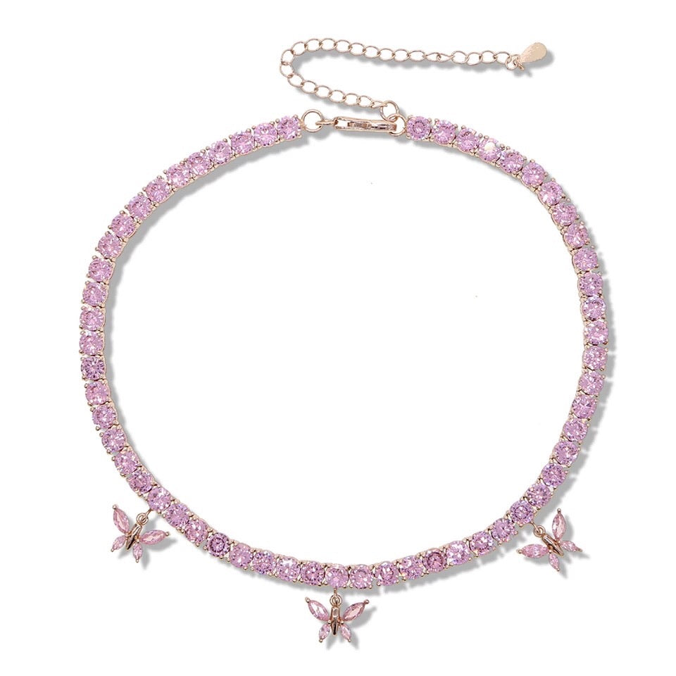 Pink Tennis Chain Butterfly Choker Necklace