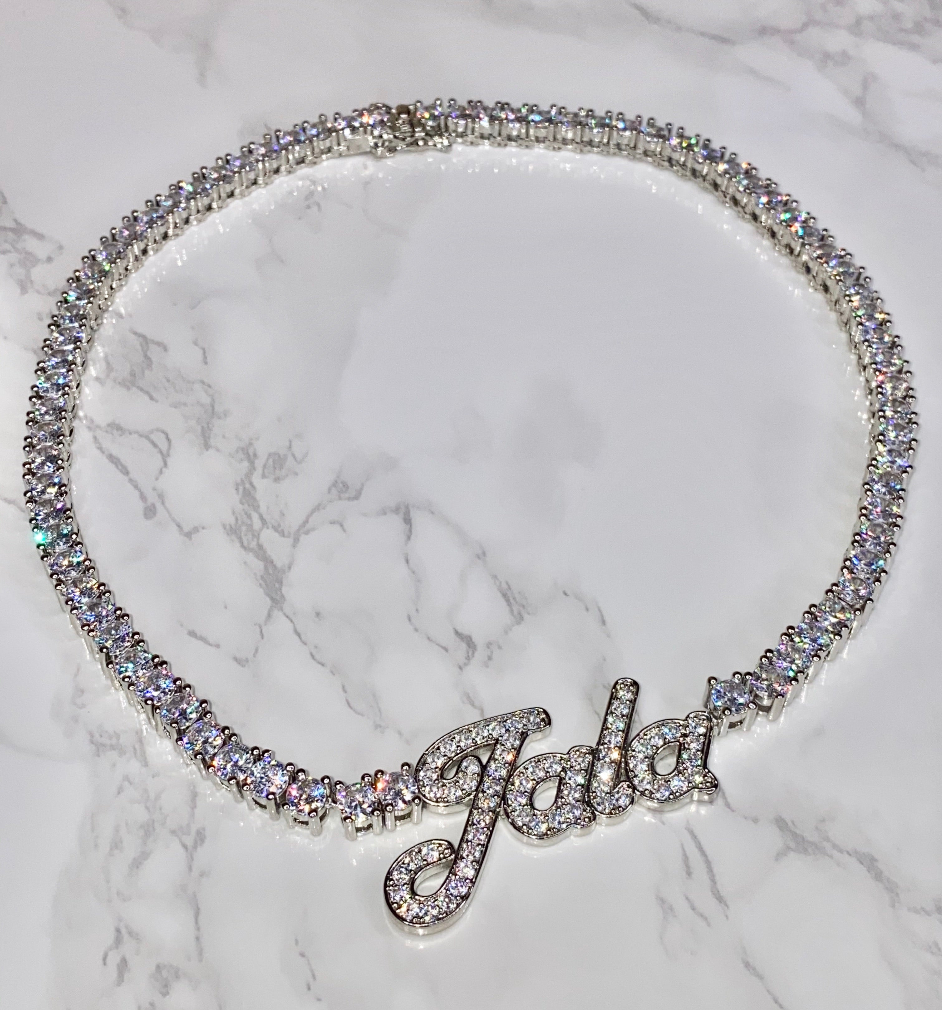 Tennis Chain Nameplate Necklace