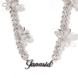 Cuban Link Butterfly Name Necklace