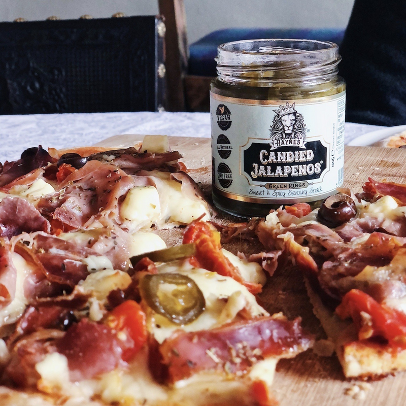 Haynes Gourmet Candied Jalapenos on pizza