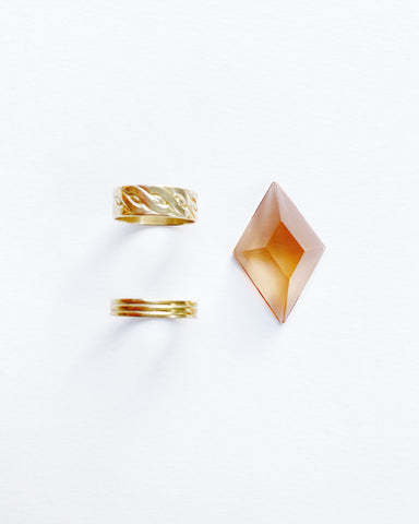 Peach Diamond Recycled TV Glass Ring (Pre-Order)