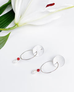 Silver Coral and Pearl Hoops