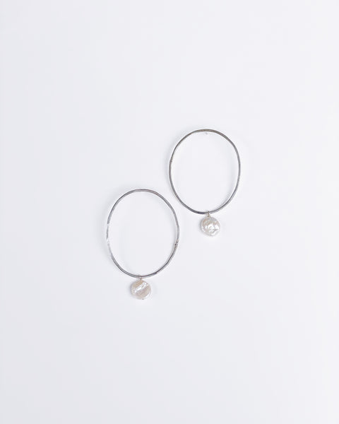 Hammered Oval and Pearl Hoops