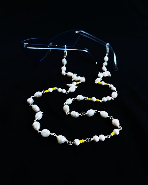 Freshwater Pearl with Yellow Accent Eyewear Strap