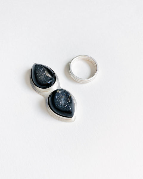 Double Black Agate Druzy Drop Statement Ring