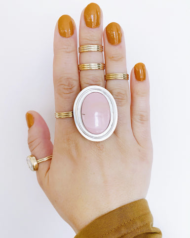 Australian Pink Opal Oval Statement Ring (Pre-Order)