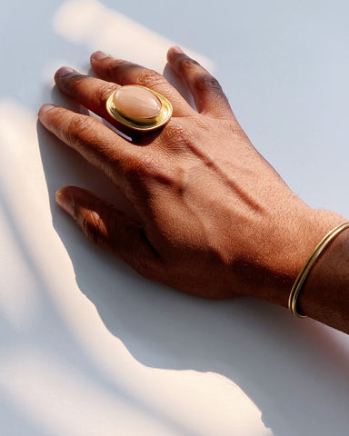 Peach Moonstone Statement Ring (Pre-Order)
