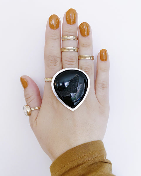 Black Agate Druzy Drop Statement Ring (Pre-Order)