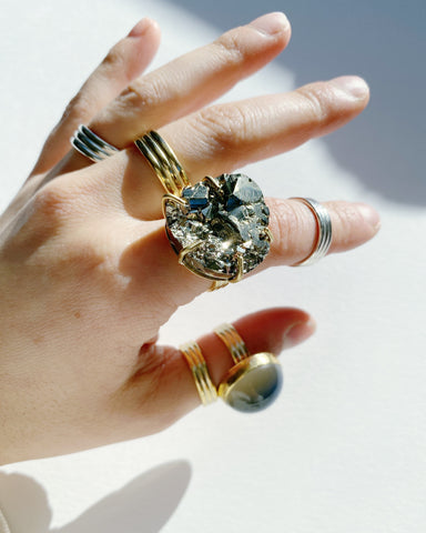 Size 8.5 Chunky Pyrite Ring