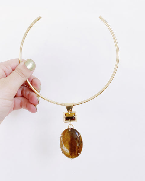 Tiger's Eye Statement Collar in Brass