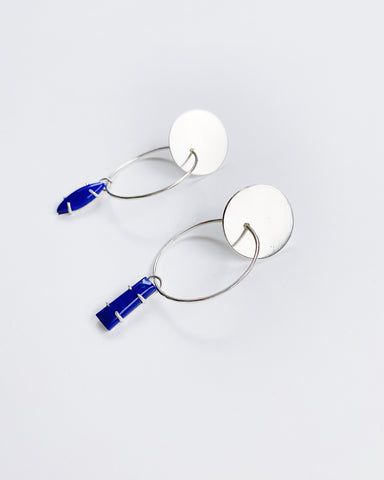 Lapis Hoops in Silver