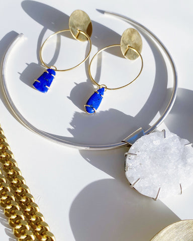 Lapis Hoops in Brass