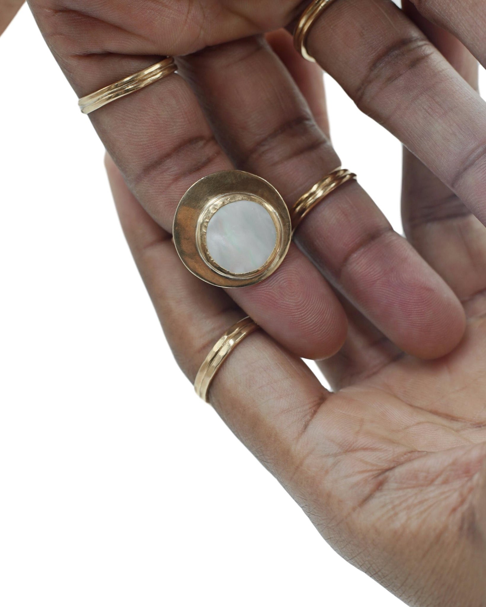 Mother of Pearl Moon Ring