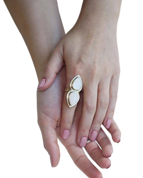 Double Mother of Pearl Drop Ring in Brass