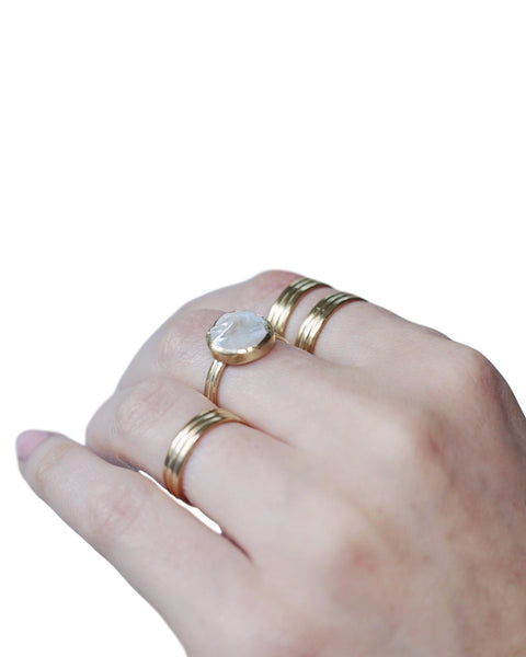 Freshwater Pearl Ring in Brass